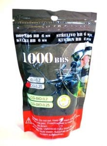 SACHET DE 1000 BILLES BLANCHES 0.25G P&J GUNS AIRSOFT