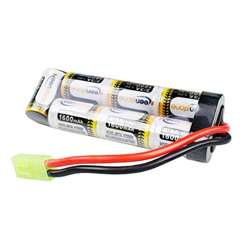 Keenstone Mini batterie NiMH plate 8,4 V 1600 mAh + mini connecteur femelle Tamiya Assemblés avec fil 16G pour fusil à air comprimé