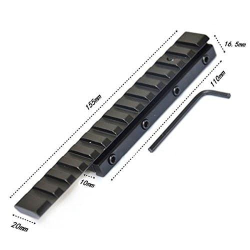 Merssavo Tactique Base Montage 11mm à 20mm Weaver Rail Adaptateur Noir