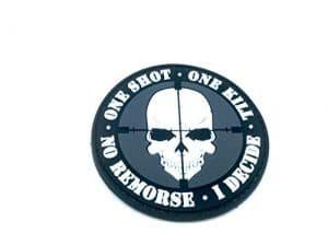 One Shot One Kill No Remorse I Decide Sniper PVC Airsoft Velcro Patch