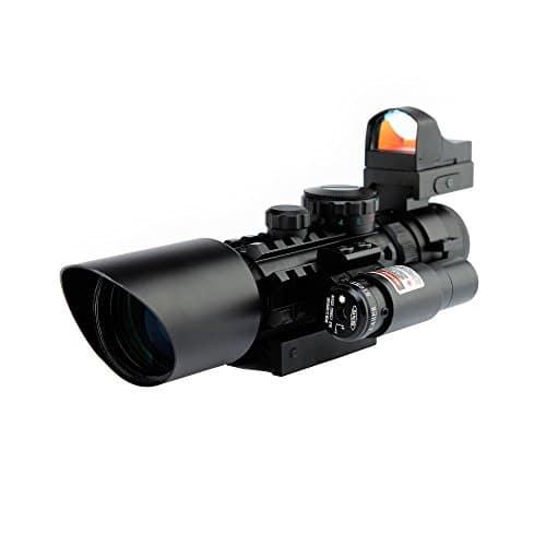 Spike Lunettes de visée Fusil tactique 3-10X42 Portée w / Laser Rouge et Vert Holographic / Red Dot Sight Combo Airsoft Gun Arme Sight Chasse