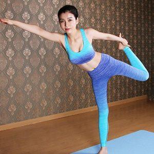 unory (TM) femmes slim pour femme + Tops Entraînement Yoga Ensembles Soutien-gorge chemises Vêtements + pantalon de fitness et de gym Sport Course à Pied Sport Fille pour femelle L bleu