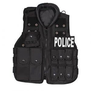 UQ Gilet de combat Enfant POLICE Militaire Tactique Airsoft CS Game Cosplay Entraînement Formation Chasse Randonné Noir
