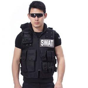 Lalawow molle gilet pour tactique airsoft combat paintball militaire en 600D Nylon avec 2 velcros détaché POLICE / SWAT (Noir , S)