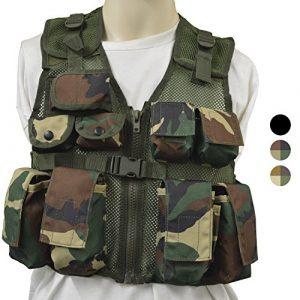 Nitehawk – Gilet tactique/de combat – style militaire/police – enfant – Camouflage Woodland