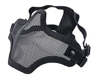 Coxeer Masque Visage airsoft Paintball Masque protection Masque de ski lunette de protection (Noir, Taille unique)