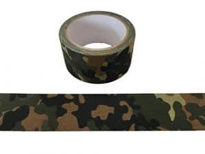 Bande de camouflage militaire 10meter bande optique Tarn vert COLLE – INDÉCHIRABLE – ETANCHE – ISOLATION – PAS REFLECTING pour l'extérieur, photo cas, camouflage, geocaching, chasse, forêt, abri – largeur de 50mm – motif sélectionnable (German-Army)