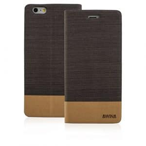 Good Quality Apple iphone 5 Case cover, Apple iPhone 5 Dark Brown Twin Colour Fabric Style Wallet Case Cover
