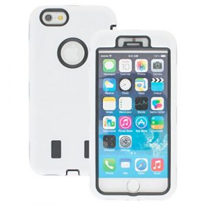 Good Quality Apple iphone 6s Case cover Durable Shockproof Armor Case 3in1 Combo Rigid PC + Soft Silicone Protective Case (White)