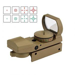 Svbony Red Dot Sight Viseur Point Rouge Multi Réticule Rouge et Vert Full-métalavec 5 niveaux d'Intensité et 4 Réticules de Pointeur (Sable)