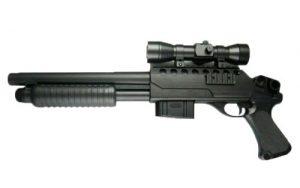 FUSIL A POMPE M47B1 DOUBLE EAGLE SPRING NOIR HOP UP 0.5 JOULE AVEC LUNETTE VISEE