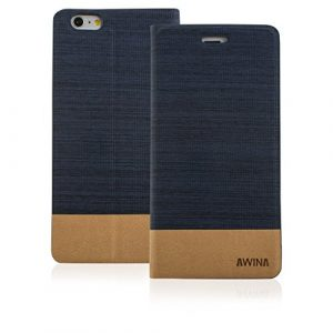 Good Quality Apple iphone 5 Case cover, Apple iPhone 5 Navy Blue Twin Colour Fabric Style Wallet Case Cover