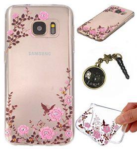 TPU Cuir Coque Strass Case Etui Coque étui de portefeuille protection Coque Case Cas Cuir Swag Pour( Samsung Galaxy S7+Plus )+Bouchons de poussière (5)