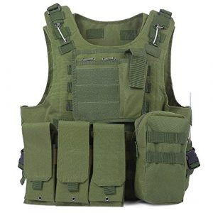 Amphibious tactique militaire MOLLE Gilet Combat Assault plate Carrier Vest, vert militaire