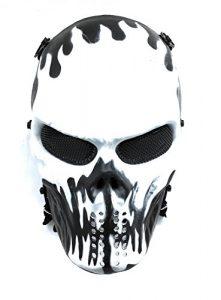 Masque de protection CS Masque de squelette crâne complet Airsoft Paintball de Airsoft noir blanc