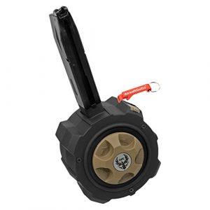 Métal Gaz Drum Chargeur Marui / WE / HFC M9 Série Airsoft GBB (Noir) – Porte-clés Inclus