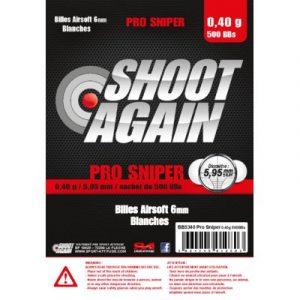 SACHET DE 500 BILLES BLANCHES 0.40G DE 5.95MM SHOOT AGAIN PRO SNIPER