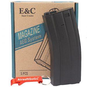 E&C Box of 5 pieces of 70rds M4/M16 Chargeur pour Airsoft AEG – Porte-clés Inclus