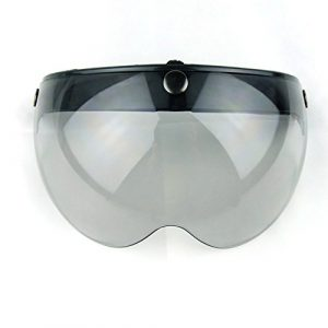 Visière pour casque de moto, visage ouvert, fermeture à 3 boutons-pression, style pilote rétro