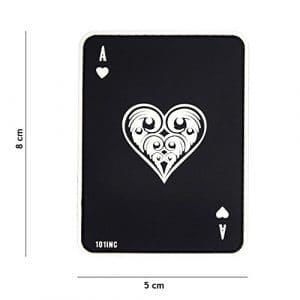 Patch 3D PVC Carte à jouer Ace Of Hearts «As de Coeur» Noir / Cosplay / Airsoft / Camouflage