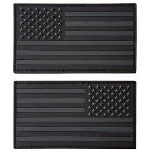 Set of 2 All Black ACU Dark Fastener PVC Gomme Patches USA American Drapeau Morale Armée