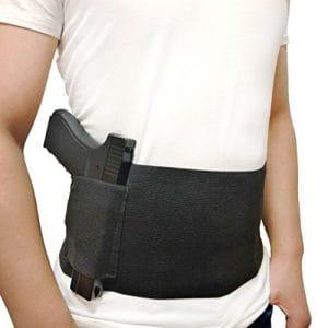 DecoDeco Belly Band Holster pour le transport caché, avec poche de poche de poche de magazine poche, pistolet à main élastique pour pistolets revolvers pour hommes et femmes noir L