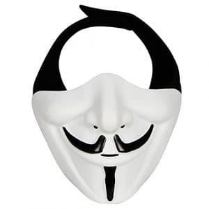 OUTRY Demi masque visage – Une taille correspond à la plupart – Demi Visage Masque de protection pour airsoft / paintball / BB Gun / CS / la chasse / de prise de vue, Masque idéal pour Halloween, Cosplay, costume de fête et de film props (V-mask# Blanc)