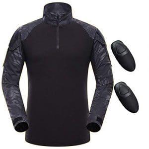 QMFIVE Chemise Tactique, Tactical Airsoft Camouflage Tee-Shirt Manches Longues à Manches Longues BDU Style Militaire