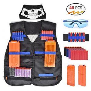 Walsilk Enfants Enfants Tactical Vest Kit pour Nerf Guns N-Strike Elite Series, Élite Réglable Tactical Vest Jacket Kit, Cadeau Parfait pour Kid Toy Play ou d'autres activités de Plein air