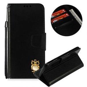 Moiky Corde Portefeuille Coque pour iPhone XS,Clapet Étui pour iPhone X, Classique Noir 3D Hibou PU Cuir Anti Rayure Porte Carte Stand Magnétique Coque avec Soft TPU
