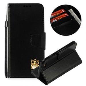 Moiky Corde Portefeuille Coque pour iPhone 8,Clapet Étui pour iPhone 7, Classique Noir 3D Hibou PU Cuir Anti Rayure Porte Carte Stand Magnétique Coque avec Soft TPU