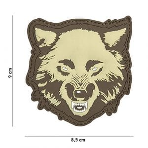 Patch 3D PVC Wolf « Loup » Couleur Sable / Tan / Désert / Coyote / Cosplay / Airsoft / Camouflage …