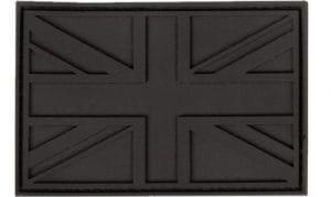 Badge en caoutchouc avec drapeau Union Jack de l'armée britannique avec Velcro, style militaire, Noir