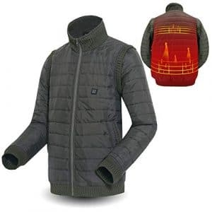 Veste Chauffant Moto Électrique Gilet Réglable en 5 Modes Vêtements de Chauffage Électronique Lavable Interface USB Vêtements, Noir/Vert, M