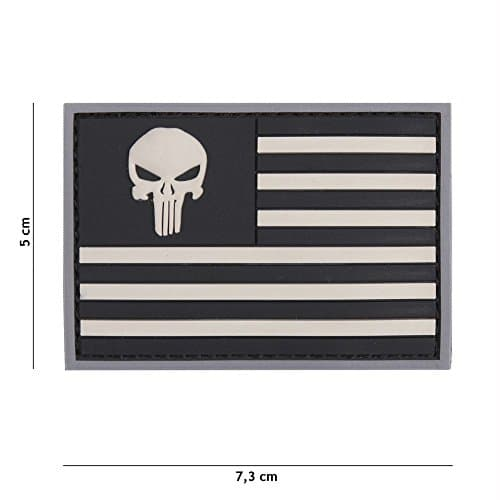 Patch 3D PVC Punisher Drapeau USA Noir & Blanc / Cosplay / Airsoft / Camouflage