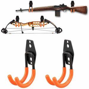 NIANPU Support d'arme à feu Crochets de fusil Cintres à fusil Tir à l'arc Arc Se sentait Rangement mural doublé (2 pièces)