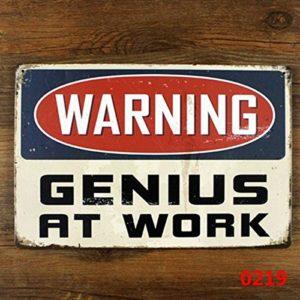Reixus (TM) signe bo?te en mšŠtal ršŠtro dr?le pour le gšŠnie d'avertissement de dšŠcoration murale de bureau š€ domicile au travail Metal Craft Vintage CafšŠ DšŠcor