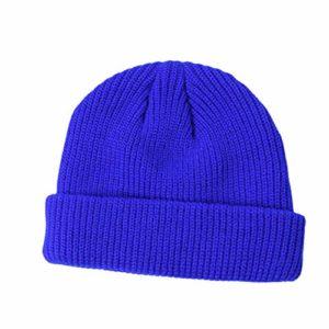 diallent13 Chapeau d'hiver Chaud Bande Dessinée Conception Unisexe Doux Bonnet Tricoté Chapeau Couleur Unie Rue Sport en Plein Air Cap Bleu