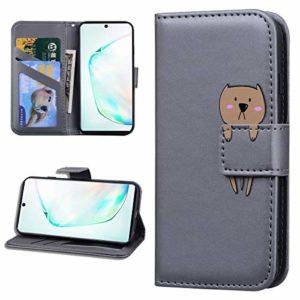 Miagon Animal Flip Coque pour Samsung Galaxy S7,Portefeuille PU Cuir TPU Cover Désign Étui Folio à Rabat Magnétique Stand Wallet Case,Gris