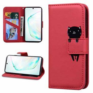 Miagon Animal Flip Coque pour Samsung Galaxy S9,Portefeuille PU Cuir TPU Cover Désign Étui Folio à Rabat Magnétique Stand Wallet Case,Rouge