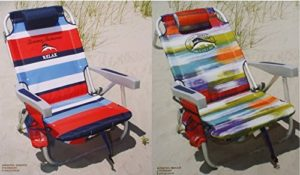 2 Tommy Bahama 2015 Backpack Cooler Chairs with Storage Pouch and Towel Bar (1 red striped and 1 multicolor) by Tommy Bahama