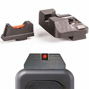 ARWIN Tactique 0,230 Fibre Optique Avant et arrière Sight Set Combat Glock Sight v3 s'intègre Glock Gen 3 et 4models pour la Chasse Accessoires Optic