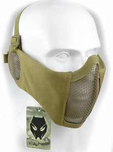 ATAIRSOFT Tactical Airsoft CS Demi-Masque de Protection en Nylon avec Masque Anti-Bruit Tan
