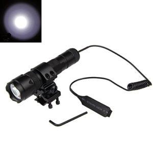 Bestsun Super Bright de chasse lumière WF-502B CREE XM-L2LED 1200lumens 1Mode 3.7–18V tactique Flashight avec ensemble de queue de pression Switch, corps support de fixation pour AR, résistance à l'eau (sans batterie et chargeur)