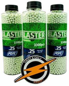 Blaster Airsoft BBS 25 Grammes et Patch par First and Only Airsoft, Munitions de Pistolet Airsoft – BBS Très Précis dans Une Affaire en Vrac Incroyable 3 bouteilles/9000 Coups