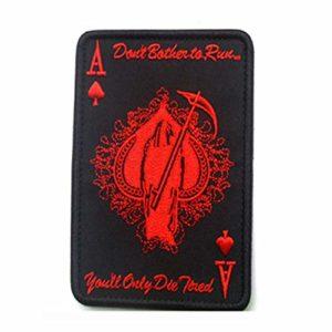Carte de la Mort Patch Rectangulaire Pique Un Poker Patch Tactique Morale Militaire TAD Brassard Armée Badge De Combat en Tissu Noir & Rouge