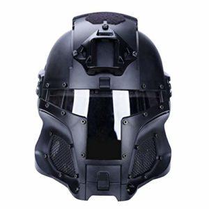 Casque pour Tactique Militaire Airsoft Paintball avec Objectif PC Casque Tactique pour Casque Complet Accessoires pour tir au Jeu de Guerre CS (BK)