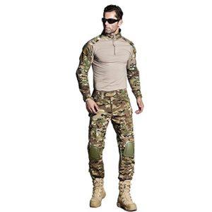 CedarAct Uniforme de combat Airsoft Chemise et pantalon avec coudières et genouillères Style camouflage militaire, L