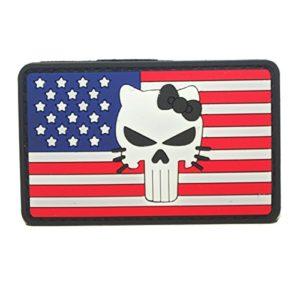 Cobra Tactical Solutions Punisher Hello Kitty PVC Tactique armée Badge Patch Drapeau US avec Crochet et Passant Airsoft