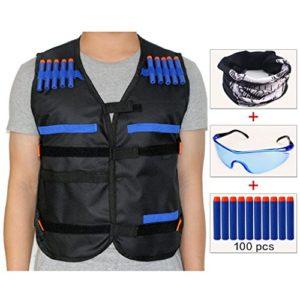 cosoro enfants gilet gilet tactique Kit pour pistolet de nerf N-Strike Elite Series (dotée de masque visage + Lunettes + 100pcs fléchettes balles)–Noir